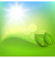 Background with green leaf and a drop of dew vector image vector image