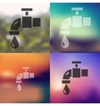 water tap icon on blurred background vector image