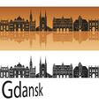 Gdansk skyline in orange vector image