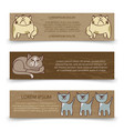 cute hand drawn cats banners template vector image