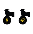 euro and dollar in bag with hand vector image