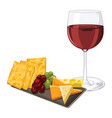 red wine with cheese cookie and grapes vector image