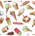 seamless pattern with chocolate ice cream and vector image
