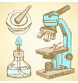 Sketch microscope in vintage style vector image