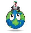 a boy playing bicycle vector image vector image