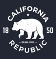 california t shirt with grizzly bear vector image