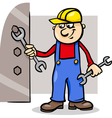 worker with wrench cartoon vector image