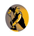 coal miner worker with shovel digging vector image vector image