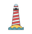 color image red striped lighthouse on island with vector image