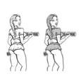 girl bodybuilder with dumbbells vector image
