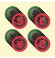 dollar euro yen and pound icons Signs vector image vector image