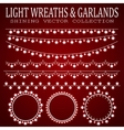 Garlands with light bulbs in the form of hearts vector image