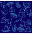 Doodle thanksgiving blue backgrounds vector image
