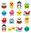 Christmas cute Kawaii characters icons vector image