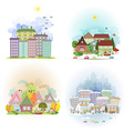 collection cute cards with sunny cityscape in vector image