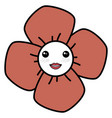 cute flower kawaii character vector image