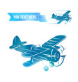 Flying vintage color plane with the banner vector image