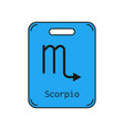 scorpio sign of the zodiac flat symbol horoscope vector image