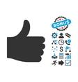 Thumb Up Flat Icon with Bonus vector image