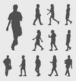 walk silhouettes vector image