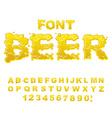Beer font Yellow liquid ABC Flowable typography vector image