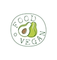 Fresh Vegan Food Promotional Sign With Avocado In vector image