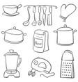 doodle of kitchen set black white vector image