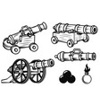 set of ancient cannons design elements for logo vector image