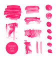 Pink watercolor dry brush stroke texture kit vector image