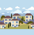 french town seamless border vector image