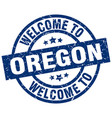 welcome to oregon blue stamp vector image