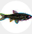Fish species marine fauna symbol Hand drawn vector image