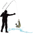 Fishing fisherman and pike vector image