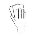 monochrome blurred silhouette of hand with soccer vector image