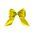 realistic gold yellow bow isolated on white vector image