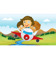 Kids riding in a plane vector image