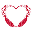 red heart with feathers and flying birds vector image vector image
