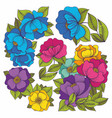 colorful flowers hand drawing set vector image