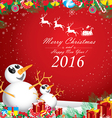 Merry Christmas and Happy New Year 2016 Two vector image