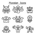 Monster icon set in thin line style vector image