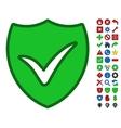 Shield Ok Symbol With Toolbar Icon Set vector image