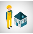 under construction worker with house vector image