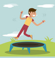 physical education - boy training jumping vector image