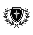 Shield with cross and a laurel wreath icon vector image