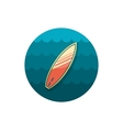 Surfboard on the water icon Summer Vacation vector image