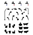 silhouettes of bathroom elements vector image