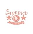 Summer Holidays Pink Vintage Emblem vector image