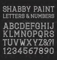 white capital letters and numbers of shabby paint vector image
