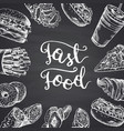 with white fast food contour vector image