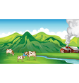 A farm house and cows vector image vector image